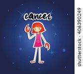 cartoon cancer girl on starry...   Shutterstock .eps vector #406390249