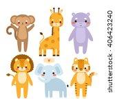 set of cute cartoon animals.... | Shutterstock .eps vector #406423240