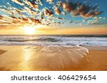 sunset landscape. beautiful... | Shutterstock . vector #406429654