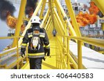 fire fighter on oil and gas... | Shutterstock . vector #406440583
