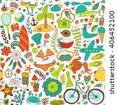 summer set doodle pattern.... | Shutterstock .eps vector #406452100