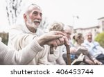 group of old people making... | Shutterstock . vector #406453744