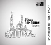 sketch of mosque with ramadhan... | Shutterstock .eps vector #406459144