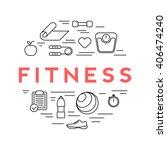 fitness line icons. banner | Shutterstock .eps vector #406474240