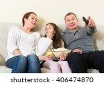 little girl and parent sitting... | Shutterstock . vector #406474870