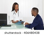 female doctor discussing with... | Shutterstock . vector #406480438
