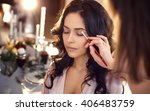 makeup artist preparing bride... | Shutterstock . vector #406483759