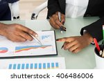 close up of businesspeople... | Shutterstock . vector #406486006