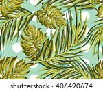 palm leaves. beautiful seamless ... | Shutterstock .eps vector #406490674