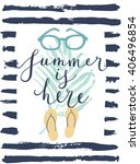 summer hand drawn calligraphyc... | Shutterstock .eps vector #406496854
