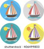 flat icons. ships and sea ... | Shutterstock .eps vector #406499803