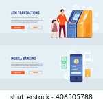 atm terminal usage. mobile...   Shutterstock .eps vector #406505788