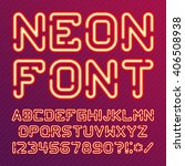 neon light alphabet vector font.... | Shutterstock .eps vector #406508938