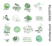 set of organic food hand drawn... | Shutterstock .eps vector #406509706