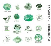 set of organic food hand drawn... | Shutterstock .eps vector #406509718