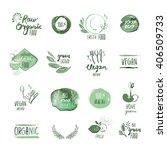 set of organic food hand drawn... | Shutterstock .eps vector #406509733
