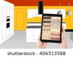 kitchen design using a tablet ...   Shutterstock . vector #406513588