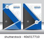 set blue cover template  annual ... | Shutterstock .eps vector #406517710