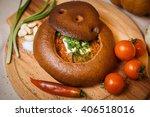 borsch bread. green onions ... | Shutterstock . vector #406518016
