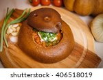 borsch bread. green onions ... | Shutterstock . vector #406518019