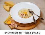 pasta carbonara with... | Shutterstock . vector #406519159