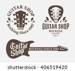 set of vector guitar shop logo. ...