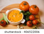 hot tomato soup. on board with... | Shutterstock . vector #406522006