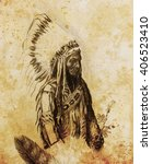 drawing of native american... | Shutterstock . vector #406523410