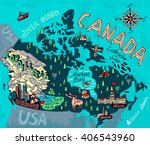 illustrated map of canada.... | Shutterstock .eps vector #406543960