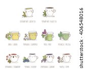 cute vector set of tea and... | Shutterstock .eps vector #406548016
