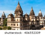 chhatris on the bank of the... | Shutterstock . vector #406552339