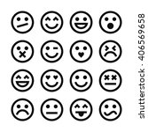 vector set of outline emoticons. | Shutterstock .eps vector #406569658