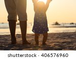 silhouette of father and little ... | Shutterstock . vector #406576960