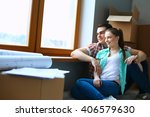 portrait of young couple moving ... | Shutterstock . vector #406579630