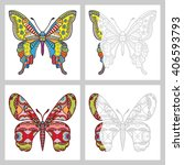 butterflies collection with...   Shutterstock .eps vector #406593793