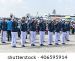 Small photo of Bangkok,Thailand - 10 January 2016 : Air Cadet Show sword drill and Fancy drill to children in children Day