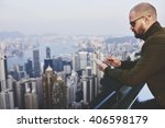 bearded businessman is checking ...   Shutterstock . vector #406598179