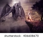 fantasy scenery with monster... | Shutterstock . vector #406608670