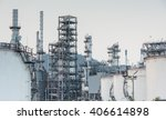 oil refinery factory at sunset  ... | Shutterstock . vector #406614898