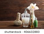 spa treatment on wooden... | Shutterstock . vector #406632883