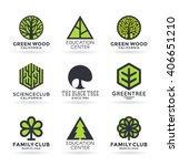 set of various tree symbols and ... | Shutterstock .eps vector #406651210