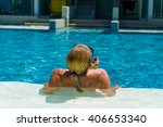 woman is relaxing in swimming... | Shutterstock . vector #406653340