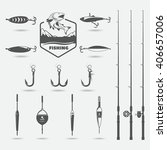 fishing rods  fishing hooks ... | Shutterstock .eps vector #406657006
