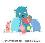 bear reading book for group of... | Shutterstock . vector #406661128