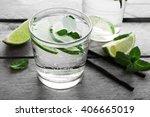 Glass Of Lemon Soda On Rustic...