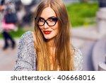 close up portrait of sensual... | Shutterstock . vector #406668016