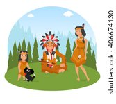 american indian family has a... | Shutterstock .eps vector #406674130