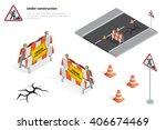 road repair  under construction ...   Shutterstock .eps vector #406674469