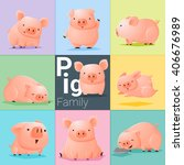 Set Of Pig Family   Vector  ...