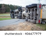 truck accident. truck lies on... | Shutterstock . vector #406677979